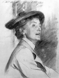 Ethel Smyth als junge Frau. Kreidezeichnung von John Singer Sargent, 1901. Bild: © gemeinfrei nach commons.wikimedia.org.