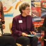 Podiumsmitglieder: Musikwissenschaftlerin Dr. Anke Steinbeck, Musikwissenschaftlerin/Dirigentin Mary Ellen Kitchens, Dirigentin Oksana Lyniv ©Kornelija Rade