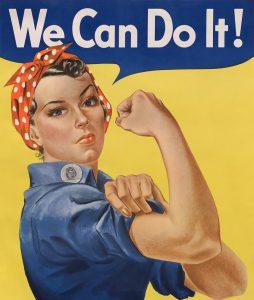 """J. Howard Miller """"We Can Do It"""" 1943 © wikimedia.commons (gemeinfrei)"""